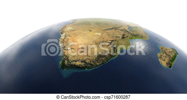 Detailed Earth on white background. South Africa - csp71600287