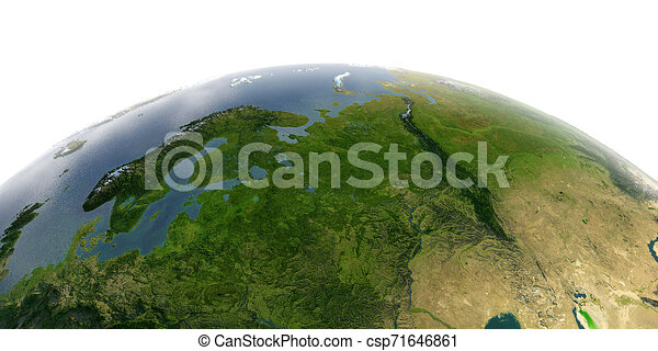 Detailed Earth on white background. European part of Russia - csp71646861