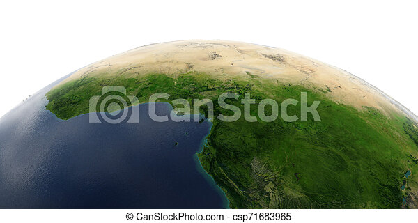 Detailed Earth on white background. Africa. Countries of the Gulf of Guinea - csp71683965