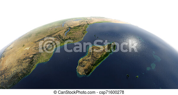 Detailed Earth on white background. Africa and Madagascar - csp71600278