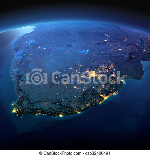 Detailed Earth. South Africa on a moonlit night - csp32400491