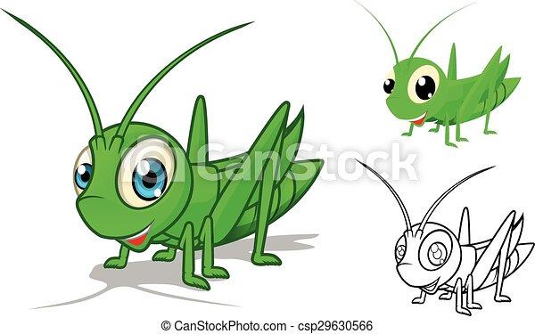 Detailed Grasshopper Cartoon  - csp29630566