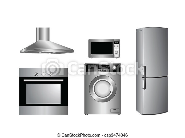 detailed household appliances icons - csp3474046