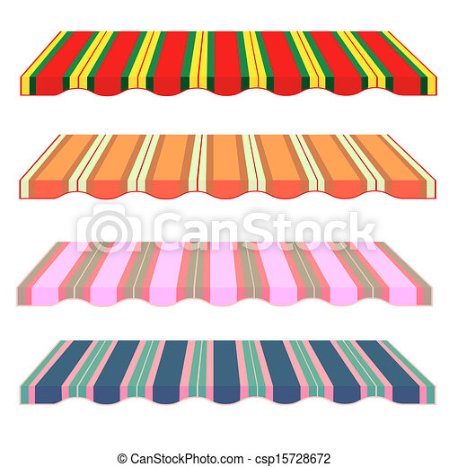 detailed illustration of set of striped awnings - csp15728672