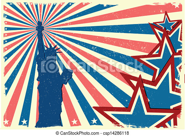 detailed illustration of the Statue of Liberty in front of a grungy stars and stripes backbround, eps 10 vector - csp14286118