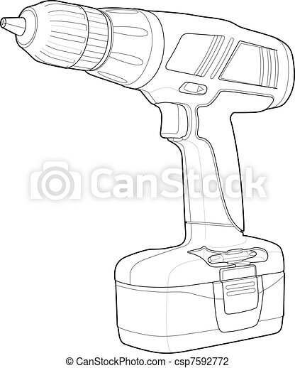 Detailed Illustrations of a Drill - csp7592772