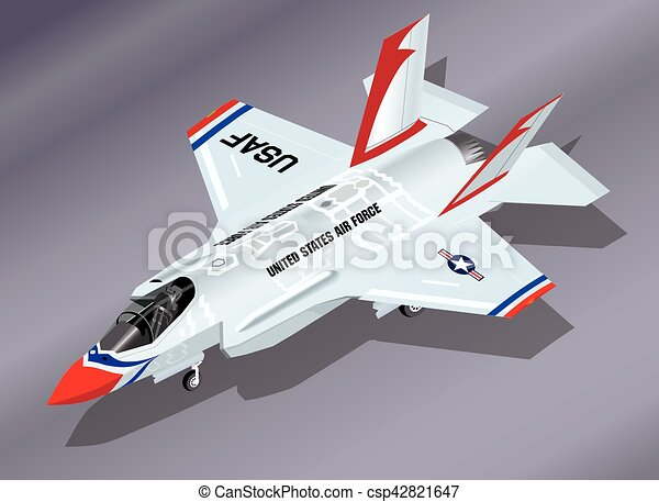 Detailed Isometric Vector Illustration of a parked F-35 Lightning II Fighter Jet in Thunderbirds Aerobatic Team Paint Scheme - csp42821647