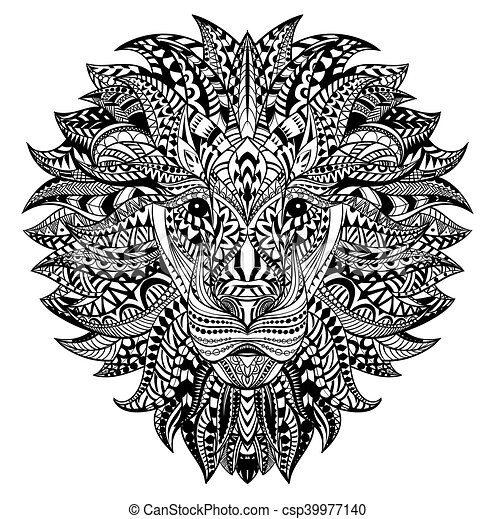 Detailed Lion In Aztec Style Patterned Head On Isolated
