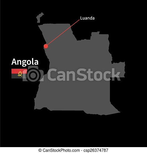 Detailed map of angola and capital city luanda with flag on