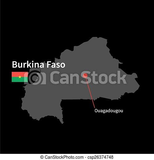 Detailed map of burkina faso and capital city ouagadougou eps