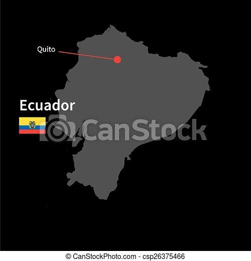 Detailed map of ecuador and capital city quito with flag on black detailed map of ecuador and capital city quito with flag on black background csp26375466 publicscrutiny Choice Image