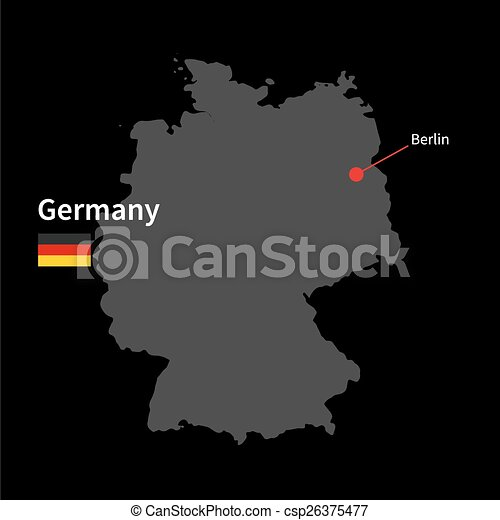 Capital Of Germany Map.Detailed Map Of Germany And Capital City Berlin With Flag On Black Background