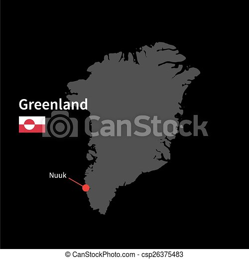 Detailed map of greenland and capital city nuuk with flag on