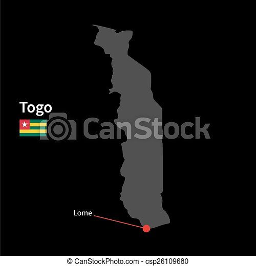 Detailed map of togo and capital city lome with flag on vector