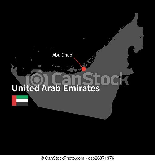 Detailed map of united arab emirates and capital city abu vectors