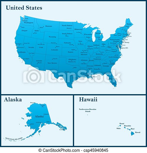 Map Of America Including Hawaii.Detailed Map Of Usa Including Alaska And Hawaii