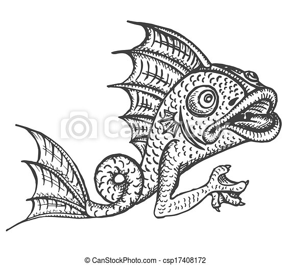 Detailed medieval decorative engraved fish gargoyle - csp17408172