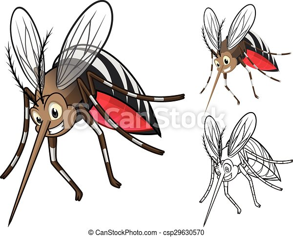 Detailed Mosquitoes Cartoon  - csp29630570