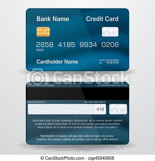 Real Visa Credit Card Numbers Front And Back Detailed realistic vec...