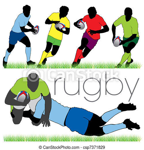 Detailed rugby silhouettes set - csp7371829
