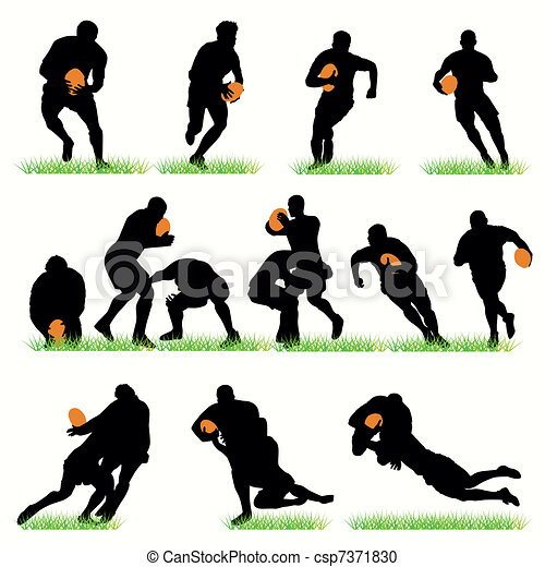 Detailed rugby silhouettes set - csp7371830