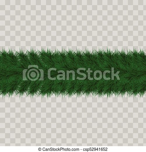 Christmas Header Transparent.Detailed Seamless Christmas Garland Of Fir Branches On A Transparent Background For Greeting Card Showcase Banner Website Header Vector