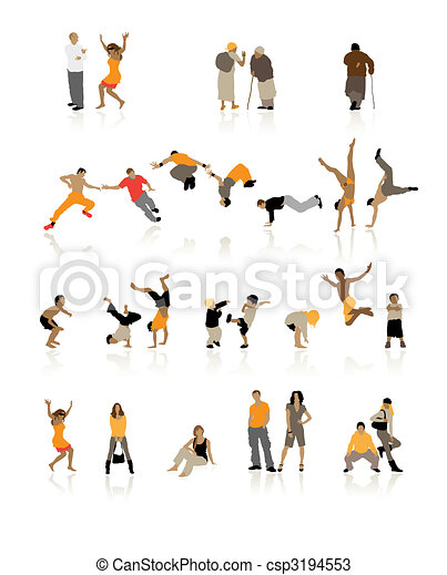 Detailed silhouettes of people: fun children, young couples, sport teens, old age - csp3194553