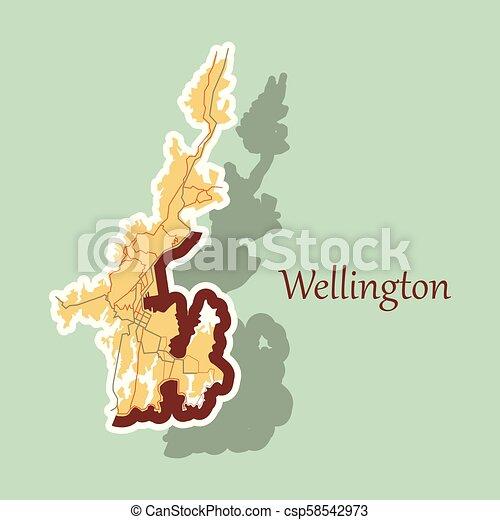Map Of Wellington New Zealand.Detailed Sticker Map Of Wellington New Zealand