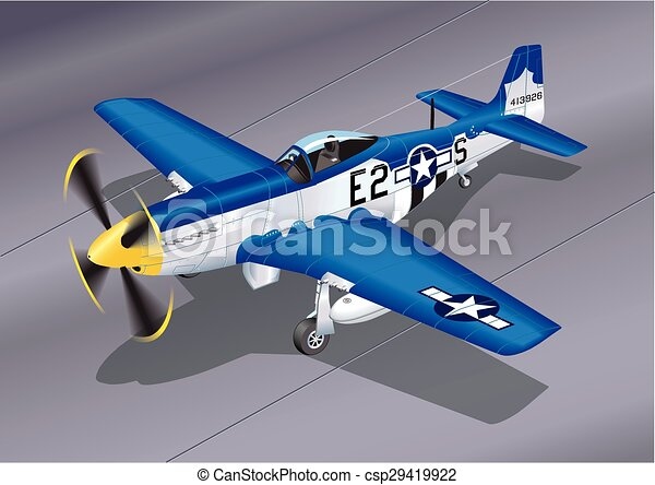 Detailed Vector Illustration of P-51 Mustang 'Easy 2 Sugar' Fighter Plane - csp29419922