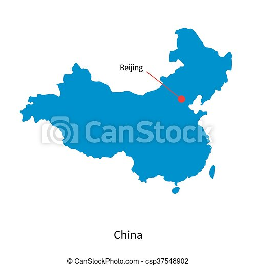 Detailed Vector Map Of China And Capital City Beijing