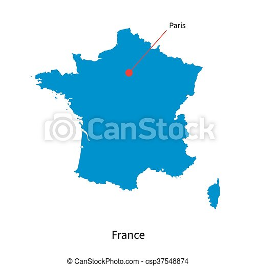 Detailed vector map of France and capital city Paris