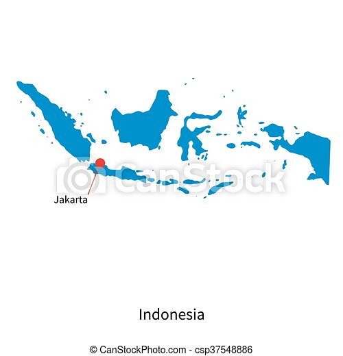 Detailed vector map of indonesia and capital city jakarta detailed vector map of indonesia and capital city jakarta freerunsca Gallery