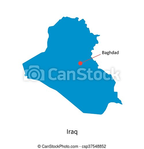 Detailed vector map of iraq and capital city baghdad clipart vector