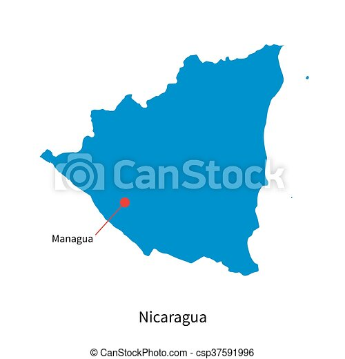 Detailed vector map of nicaragua and capital city managua.