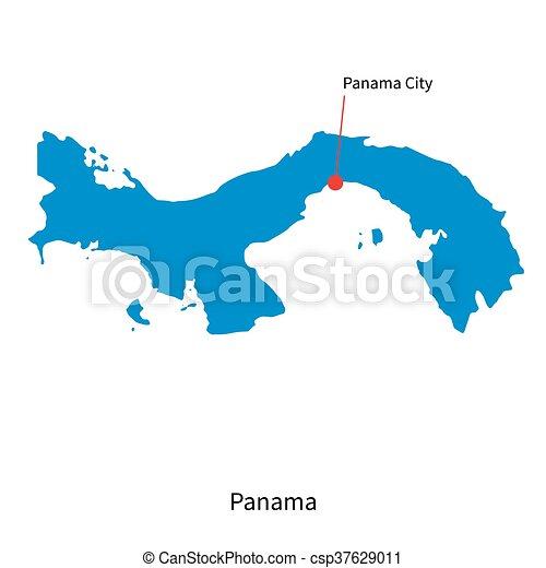 Detailed Vector Map Of Panama And Capital City Panama City