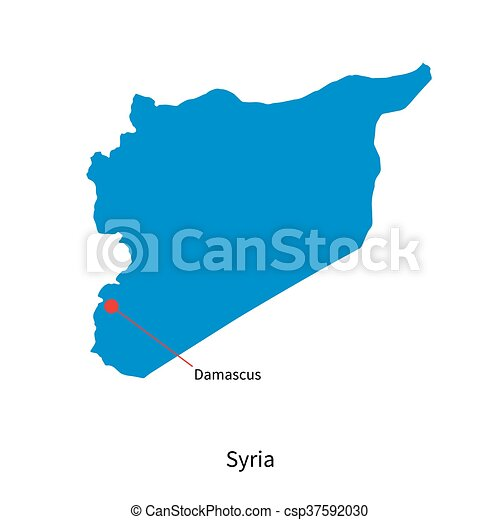 Detailed vector map of syria and capital city damascus. on