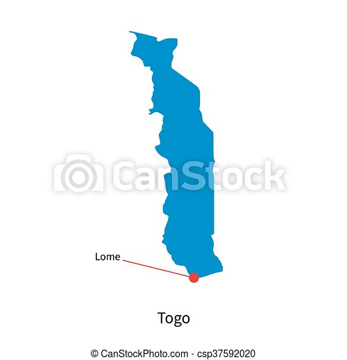Detailed Vector Map Of Togo And Capital City Lome Vector - Togo map outline