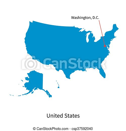 Detailed vector map of United States and capital city Washington - csp37592040
