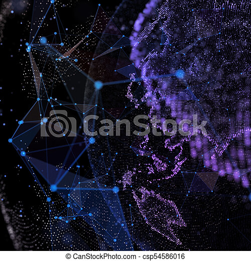 Detailed virtual planet Earth. Technological digital globe world. 3d illustration. - csp54586016