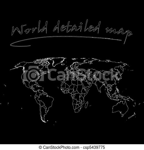 Detailed world map over black background abstract vector art detailed world map over black background csp5439775 gumiabroncs Images