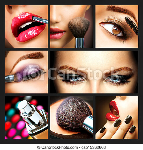 details., makijaż, collage., makeover, charakteryzacja, profesjonalny - csp15362668