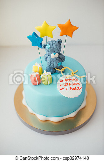 Strange Details Of A First Year Birthday Cake In Blue Blue Cake With A Funny Birthday Cards Online Alyptdamsfinfo