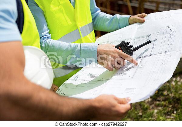 Details of blueprints on a construction site - csp27942627
