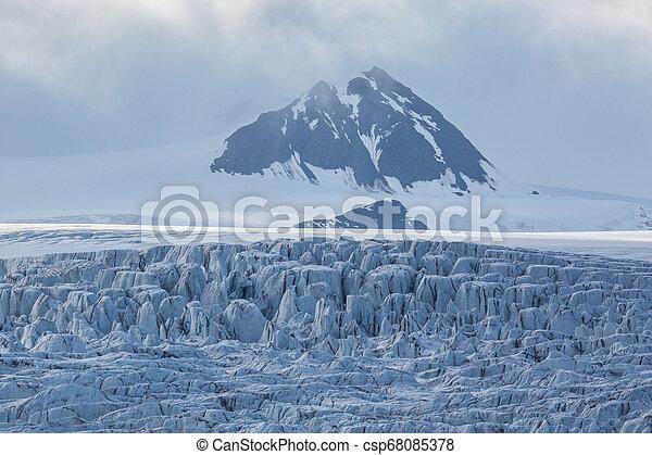 details of Esmarkbreen glacier crevasses in Svalbard - csp68085378