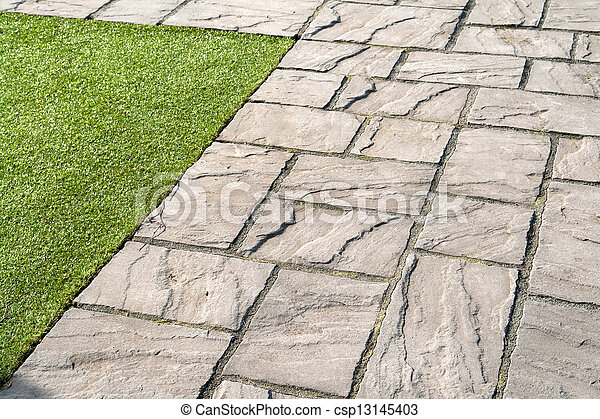 details of gray stone garden tiles csp13145403 - Garden Tiles