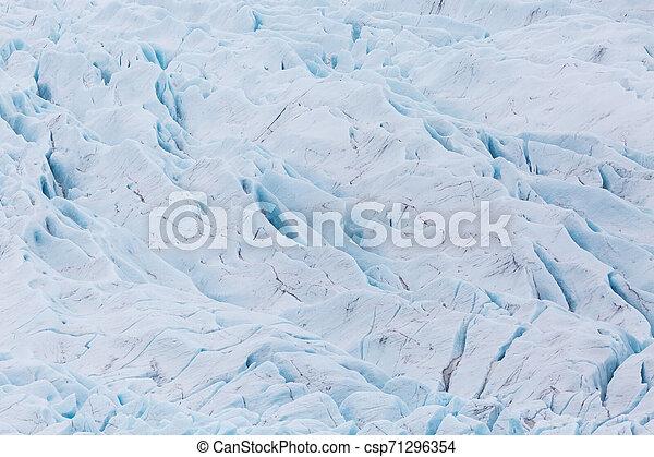 details of Vatnajokull glacier surface with crevasses - csp71296354