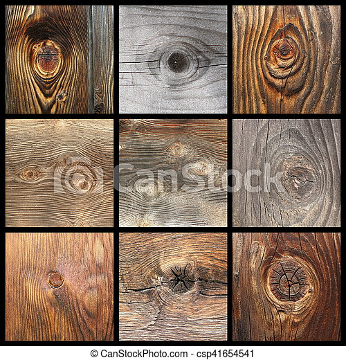 collection with details of wood knots wooden planks