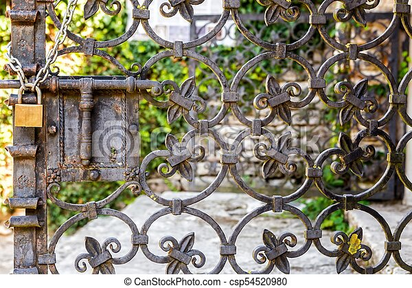 Details, structure and ornaments of wrought iron fence with gate - csp54520980