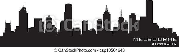 detalhado, austrália, silueta, melbourne, vetorial, skyline. - csp10564643