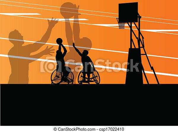 detalhado, basquetebol, silueta, cadeira rodas, homens, ilustração, incapacitado, jogadores, conceito, vetorial, fundo, ativo, desporto - csp17022410